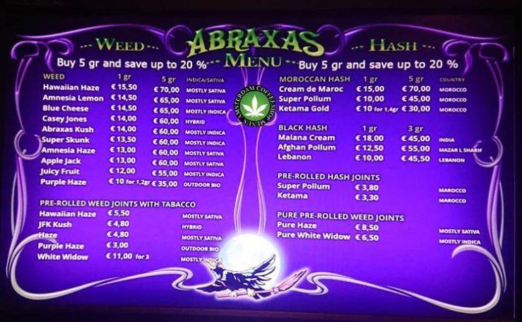 Abraxas – Amsterdam Coffeeshop Menus